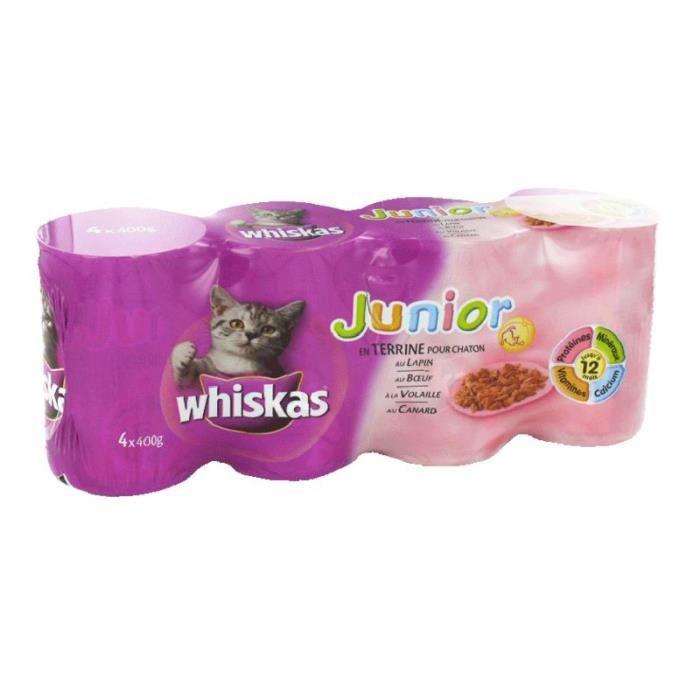 WHISKAS - Boîtes de terrines Junior Chaton - Aux viandes - Lot de 4 x 400g