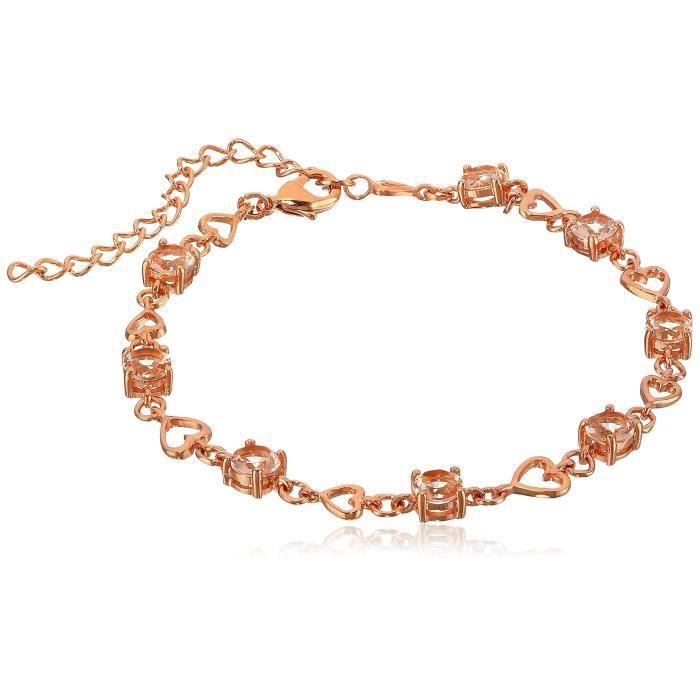 Nina Morganite Heart Link Bracelet, 7 + 2 Extender TDCX2