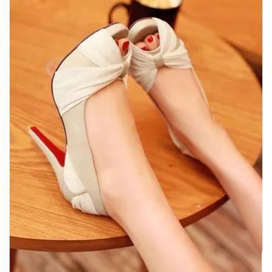 Chaussures dentelle, les chaussures tête de poisson à l'arc dames sexy talons hauts, beige 37