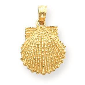Pendentif 14 ct pétoncles 585/1000 or coquille