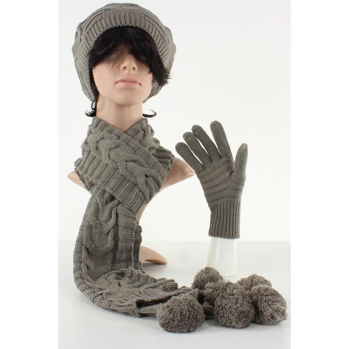 ensemble bonnet b ret charpe et gants femme marron taupe. Black Bedroom Furniture Sets. Home Design Ideas