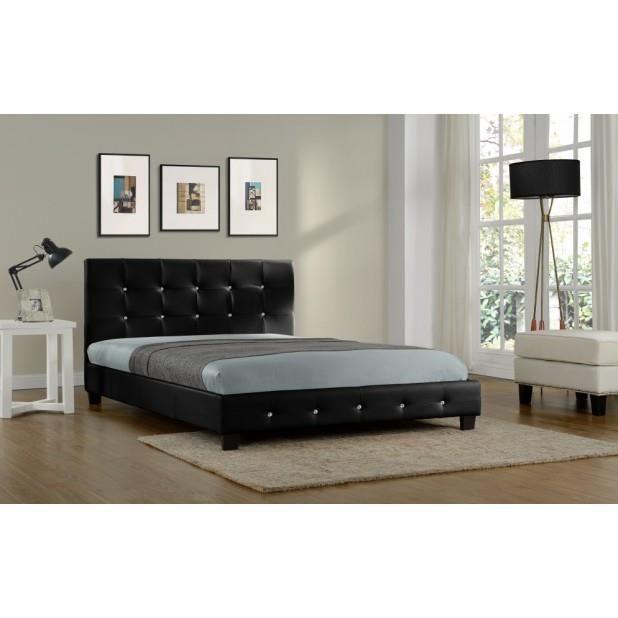 Magnifique lit palace 160x200cm cadre de lit en pu cuir capitonn noir achat vente cadre a for Lit capitonne cuir
