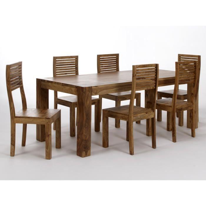 Table 160x90 et chaises PALISON en palissandre naturel - Achat ...