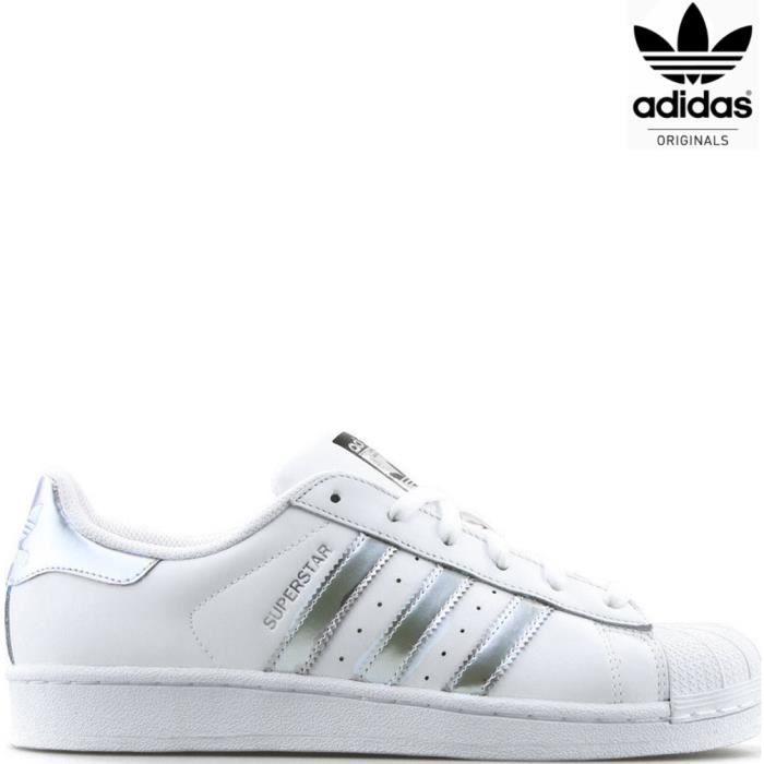 Baskets Adidas Superstar Homme Chaussures Basses AQ3091 Blanc/Argent D3EmZ60
