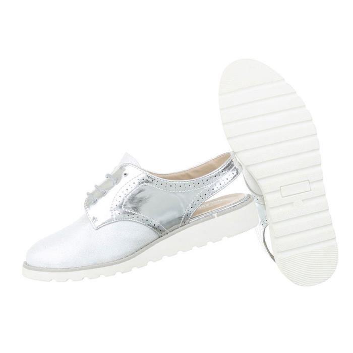 Femme chaussure bassechaussures lacer Affaires Élégant argent 37