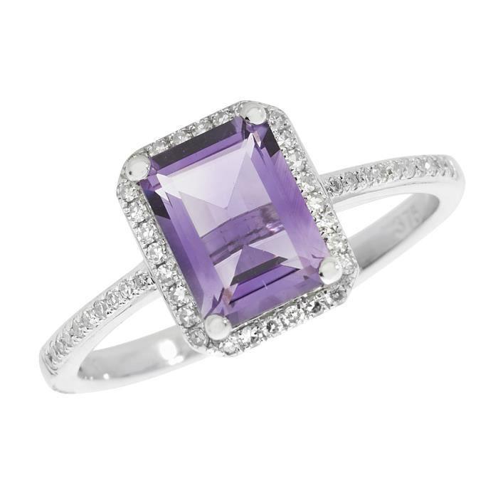 Bague Femme Pavage Or Blanc 375-1000 et Diamant Brillant 0.17 Carat HI - I1 avec Améthyste 30346