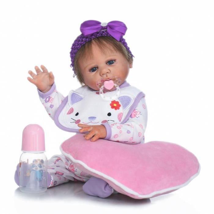 50 cm bebe reborn poup e r aliste plein silicone corps nouveau n fille poup e mode enfants. Black Bedroom Furniture Sets. Home Design Ideas