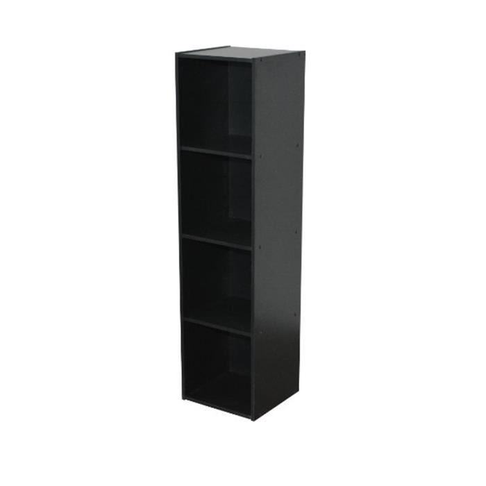 meuble de rangement noir en panneaux de particules 31 1x29 5x123cm achat vente petit meuble. Black Bedroom Furniture Sets. Home Design Ideas