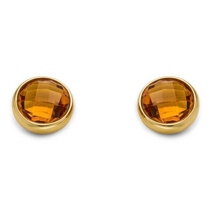 Miore dames de femmes 9ct Boucles doreilles en or jaune ronde Cut
