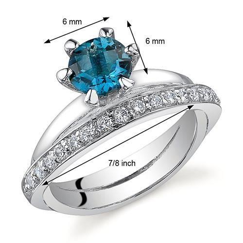 Bague - Femme -Argent- Topaze bleue