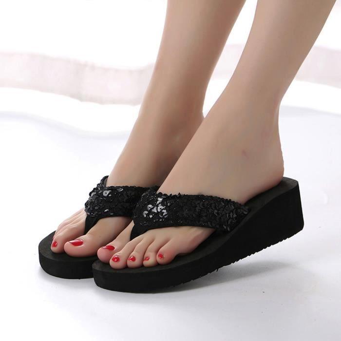 Femmes Chaussures 39 Anti Paillettes Noir Pantoufle dérapant D'été pxATZq