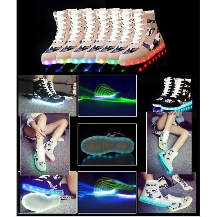 Mode 8 couleurs High Top Growing Led Chaussures Pour Homme Femme lumineux Chaussures Casual Black Light Up Chaussures