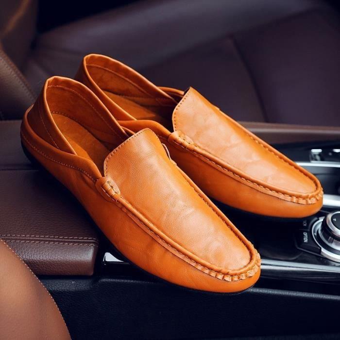 cuir véritable automne mâle mode semelle extérieure en cuir souple été mâle hommes pédale prélassait & # 39; chaussures bateau de je2XZdR