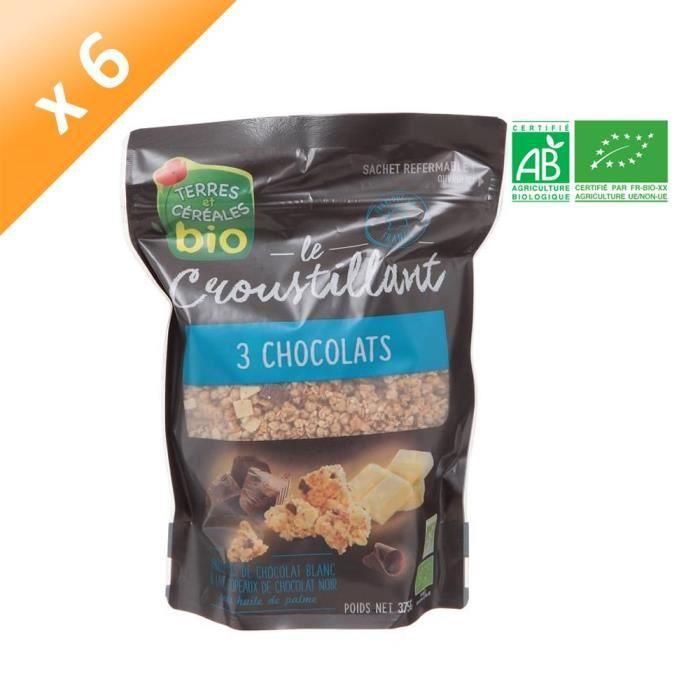 TERRES ET CÉRÉALES Muesli Croustillant aux 3 Chocolats Bio - 375 g x6
