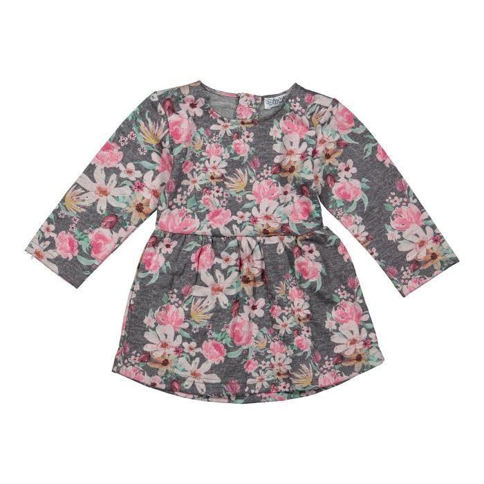 963764f908f00 DIRKJE Robe Rose Gris et vert fleuris Enfant Fille - Achat   Vente ...