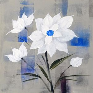 TABLEAU - TOILE FLEURS BLANCHES Toile peinte 50x50 cm Blanc, bleu