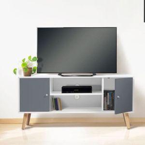 meuble tv meuble tv effie scandinave bois blanc et gris