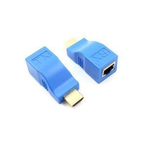 CÂBLE RÉSEAU  2pcs Extendeur HDMI 1080P à RJ45 Adaptateur Ethern