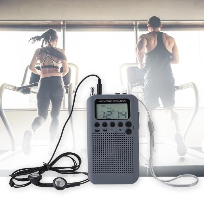 Mini Radio Numérique Portable À Haut-parleur Récepteur Stéréo Am / Fm 2 Bandes De Poche(batterie Non Incluse)(gris)---rac