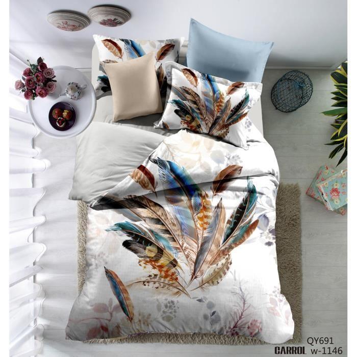 parure de lit 3 pi ces housse de couette polyester le dessin plume 3d 1 housse de couette. Black Bedroom Furniture Sets. Home Design Ideas