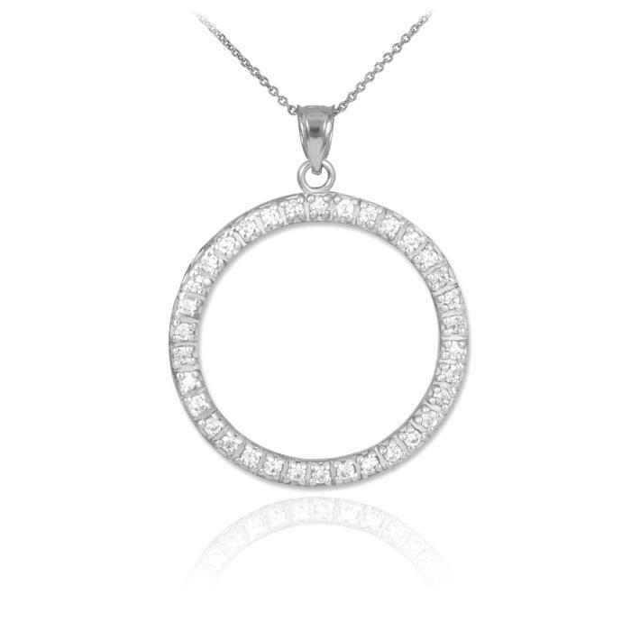 Pendentif 14 ct Or Blanc 585/1000 éternité cercle dependentif Diamants Life