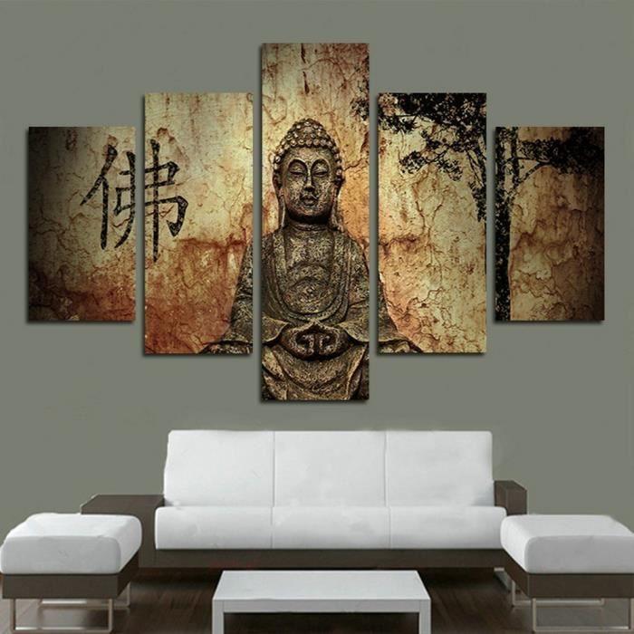 5 Panneau Imprimé Résumé Bouddha Peinture Toile Décoration Mur D