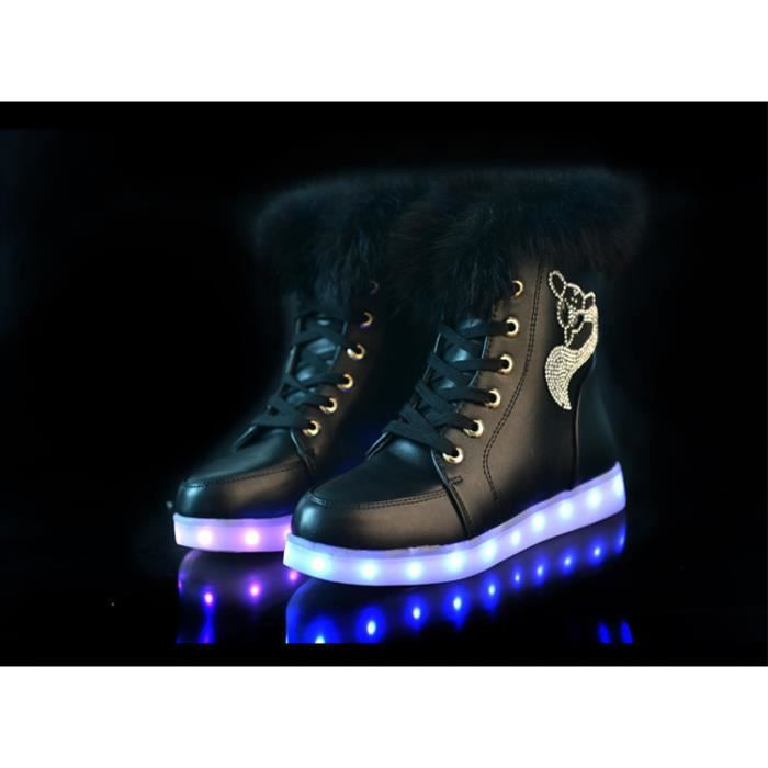 Hiver Plush 7 Couleur respirant Chaussures clignotants LED Sneakers XW96Zgpja