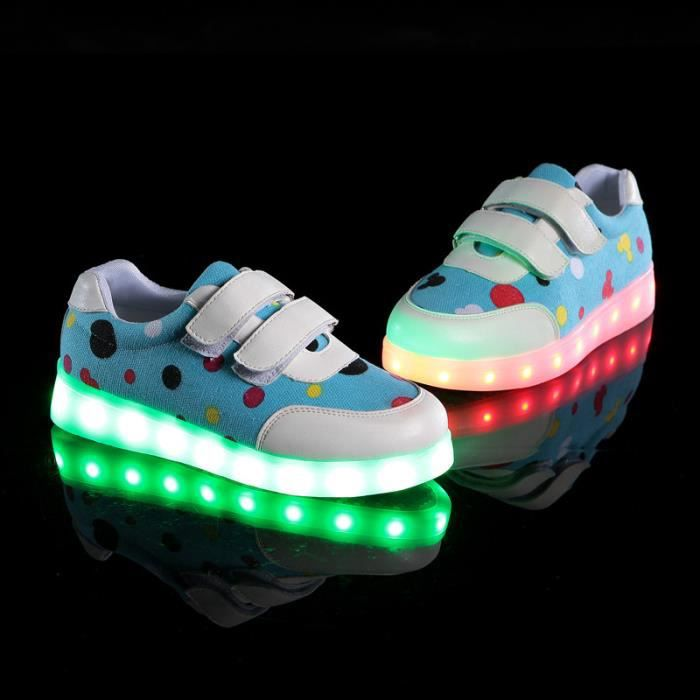 Mode chaussures led enfants garcons fille usb rechargeable clignotants chaussures de sports baskets WDwp9y