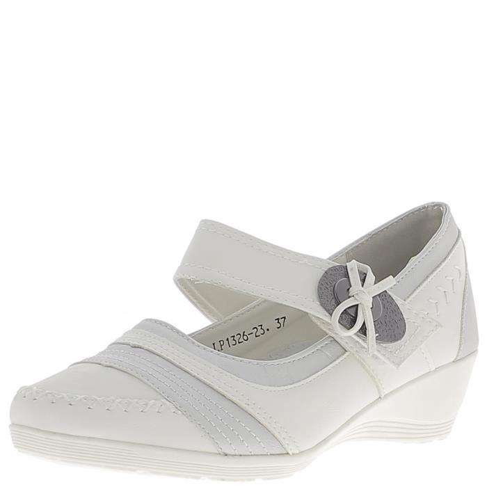 cm métal bride compensés 4 gris Blanc et blancs talon Pointure à Escarpins large confort Couleur aIqPwnPFH