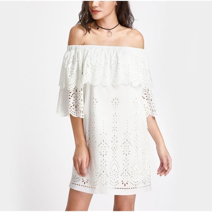 Robe epaule trois quarter blanc longueur manches robe décolleté bord de volant draperie laser