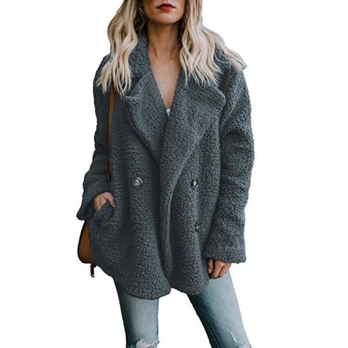 f872159552503 Femme Manteau en peluche chaud d'hiver boutonné à revers Gris Foncé ...