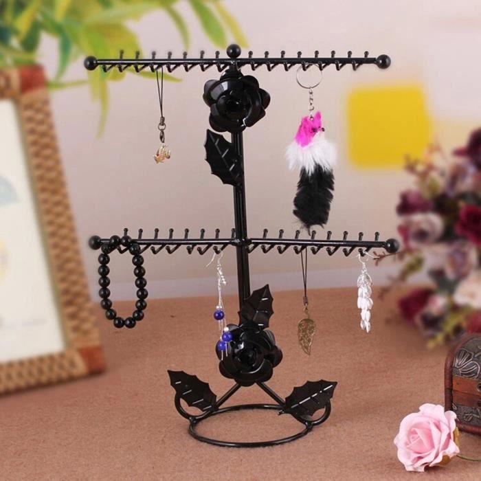 1d149587235 Porte bijoux-Présentoir à Bijoux en métal Noir avec 32 crochets Parfait pour  afficher des accessoires mobiles