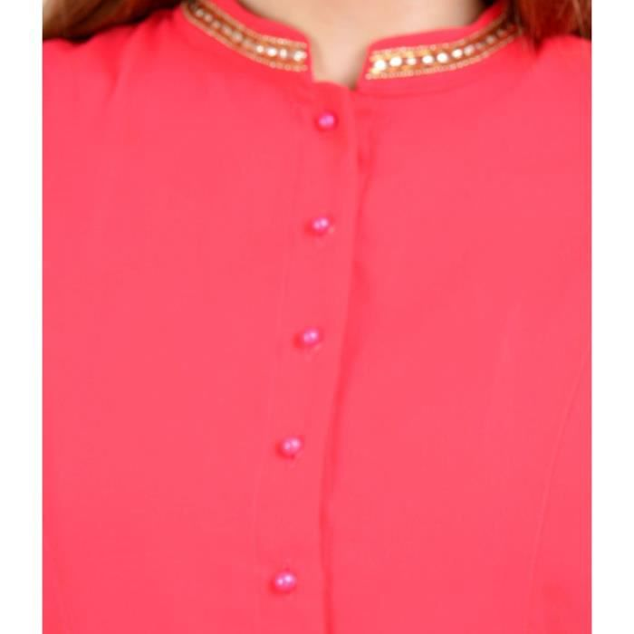 Womens Georgette Pink Color Mandarin Collar Casual Dress ENZOX Taille-36