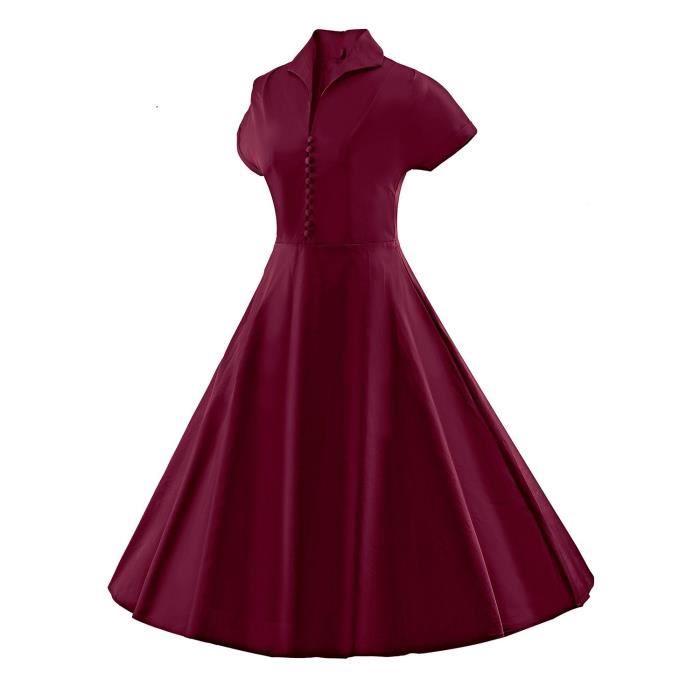 À manches courtes sexy des femmes de style vintage 1950 Parti Rockabilly Robe 2OE83G Taille-38