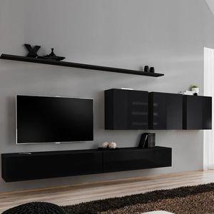 MEUBLE TV Ensemble meuble télé noir laqué design TALSANO 4 N