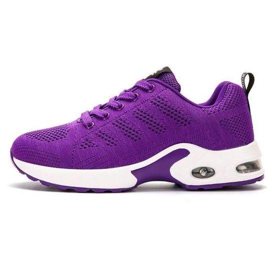 Chaussure De Course Homme Plus Taille Plus Taille Poids LéGer Masculines Absorbeur De Choc Lacets Haute Qualité Violet Violet - Achat / Vente basket