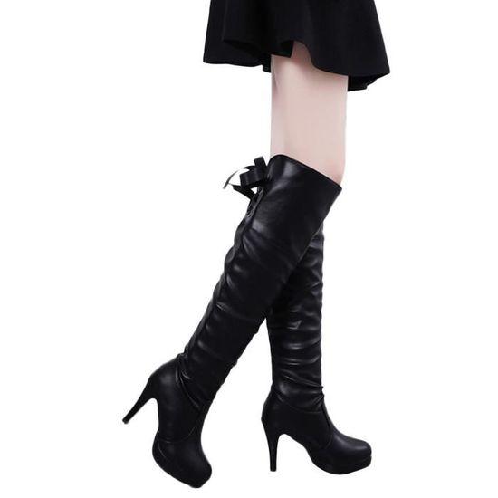Bout En à Rond Tube Femme Cuir Chaussures Bottes Talon Chevalier Fin De Frandmuke4671 Long Martin Lacées La 2eHWYD9IE