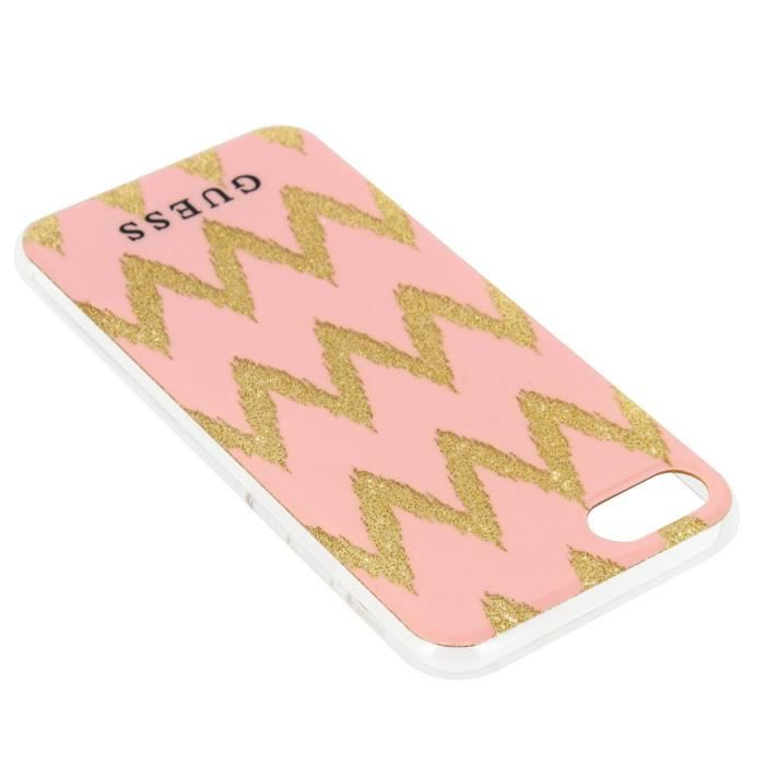 Coque Guess design Chevrons Zigzag iPhone 7 et iPhone 8 - Rose et Or