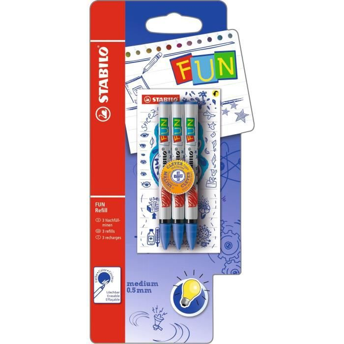 STABILO FUN - lot de 3 recharges + stickers + astuces - bleu effeçable