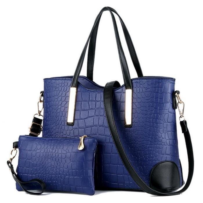Femmes de luxe Grain Pu Sac fourre-tout en cuir sacs à main et de Shouder Portefeuilles Ensemble YZS0Z