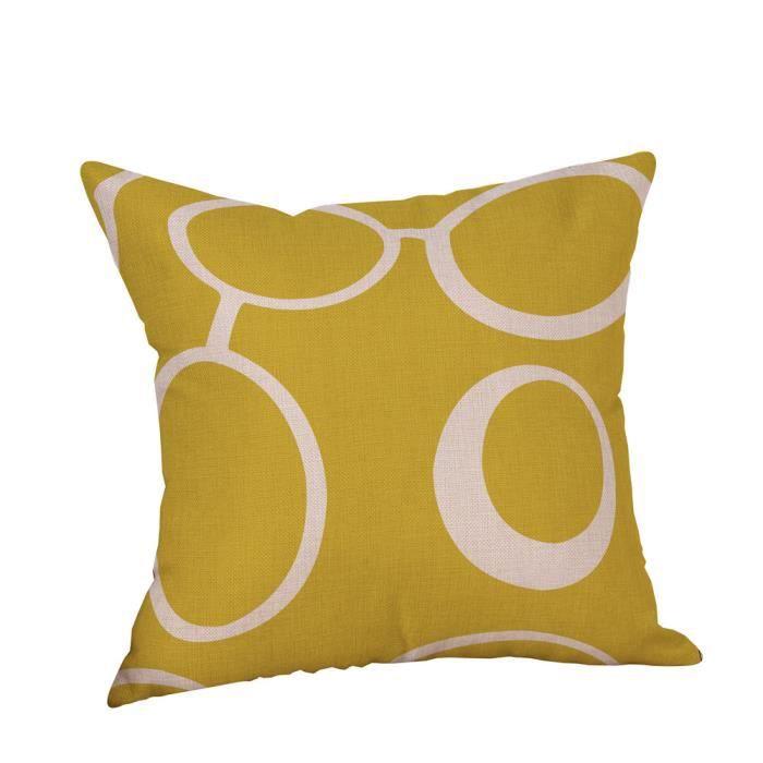 Taie d'oreiller décoratif jaune moutarde automne géométrique automne on