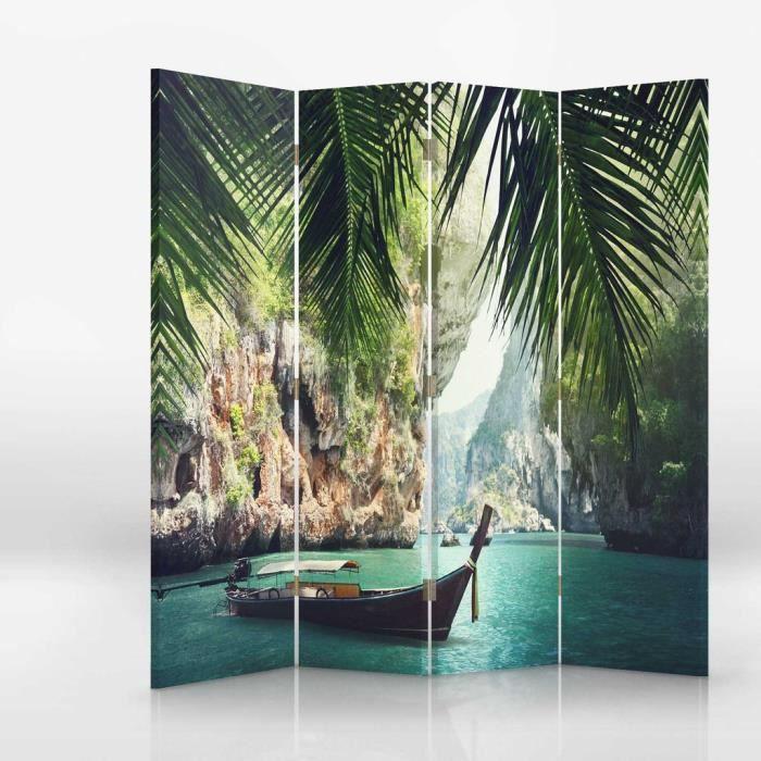 paravent sur toile 145x150 paysage tropical achat vente paravent soldes d s le 10 janvier. Black Bedroom Furniture Sets. Home Design Ideas