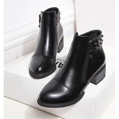 Les nouvelles bottes de chaussures de rivet épais avec des bottes Martin ainsi que des bottes de velours, noir 38