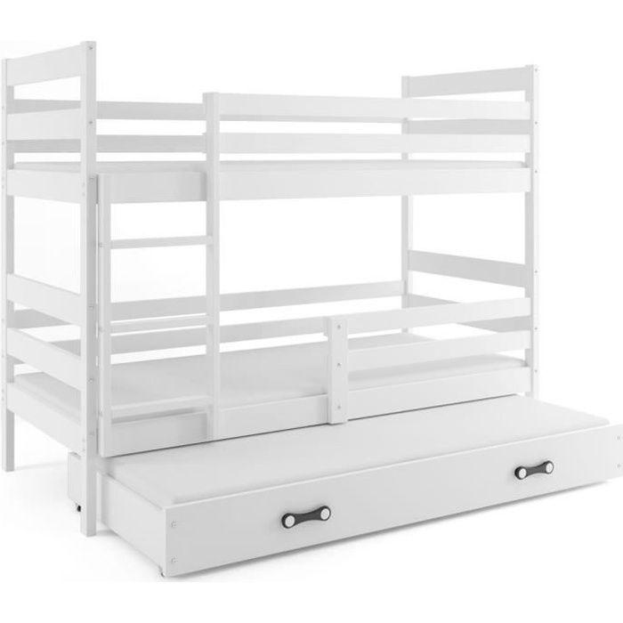 Lit Superposé 3 Places Eryk 160x80 Blanc Blanc Livré Avec Sommiers