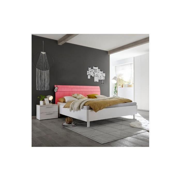 Lit SATORI Rouge Tête Courbée 180x200 Cm   Chambres Adultes