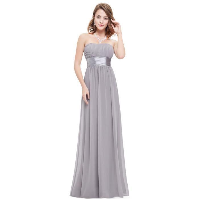 robe longue bustier de soir e femme de demoiselle d 39 honneur pliss e dos nu gris gris achat. Black Bedroom Furniture Sets. Home Design Ideas