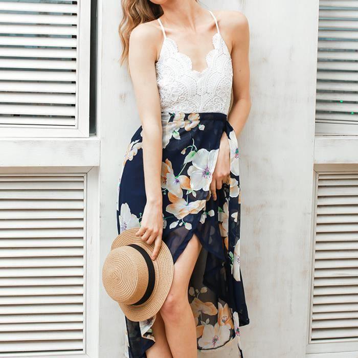 Femme Mousseline couture dentelle été encolure en V robe licou sexy