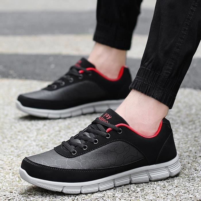 Män Kvinnor Löparskor homme Flynit kvinna gymnastiksportskor andas skor promenadskor jogging,blanc noir,8.5