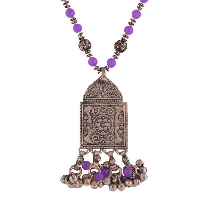 Ethnique tribal antique éloxée argent plaqué perles Femmes Bleu Set Jade collier de perles pour & (10 R0NVR