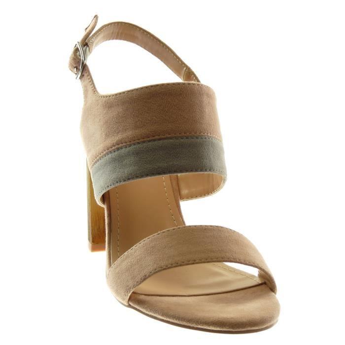 Ys467 Noir Femme 10 Haut Bloc Chaussure Cheville Angkorly Bicolore Bois Mode Sandale 35 Cm Talon Lanire Rose T R6wBnq
